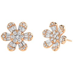 1.73 ct. t.w. Diamond Baguette & Round Floral Motif 18k Rose Gold Stud Earrings