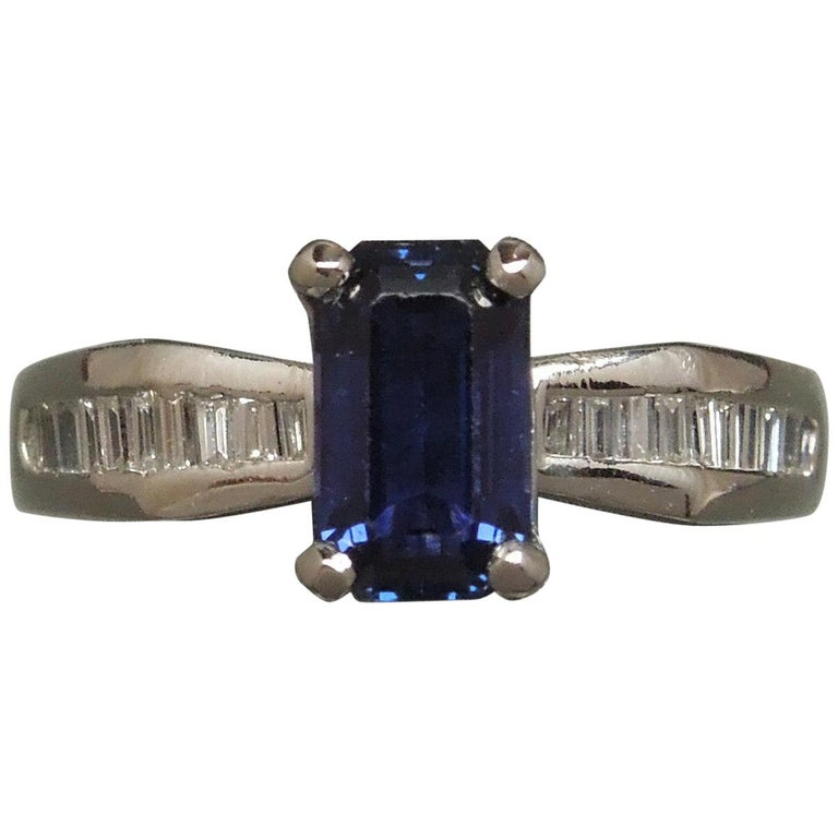 1.73 Carat Emerald Cut GIA Sapphire and Baguette Platinum Ring For Sale