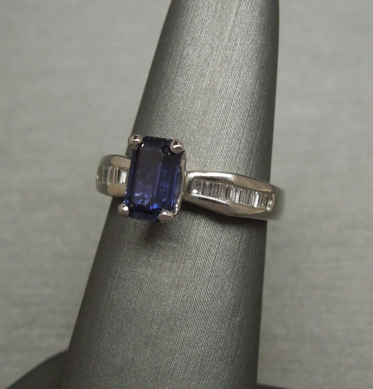 1.73 Carat Emerald Cut GIA Sapphire and Baguette Platinum Ring In Good Condition For Sale In METAIRIE, LA