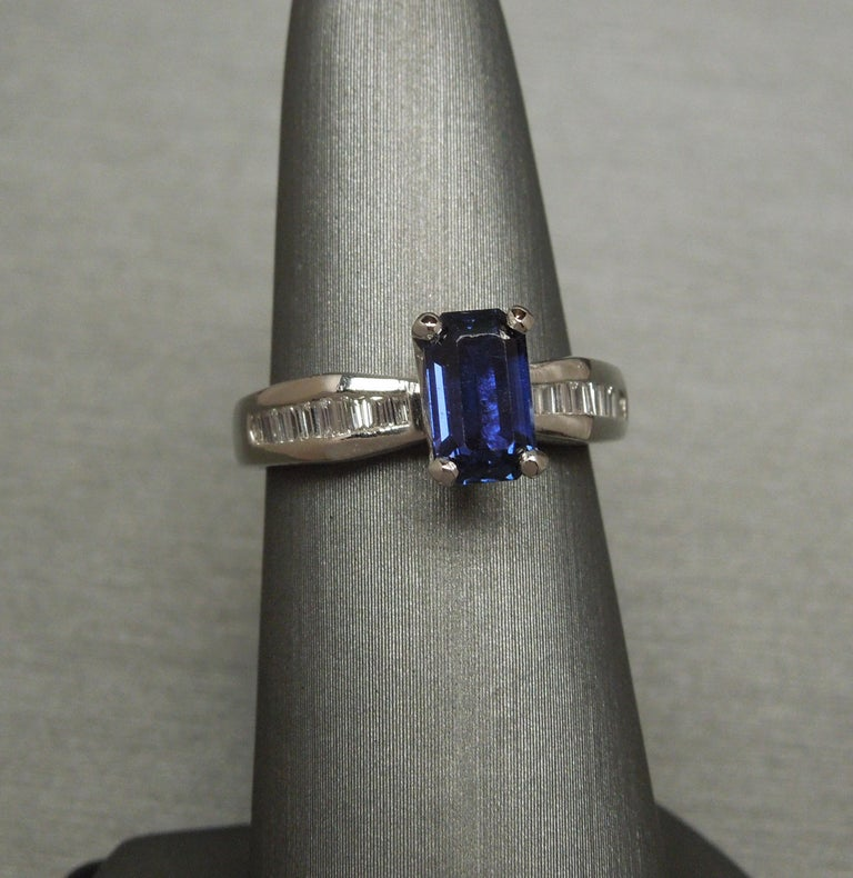 Women's 1.73 Carat Emerald Cut GIA Sapphire and Baguette Platinum Ring For Sale