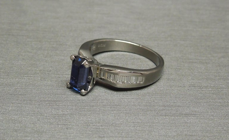 1.73 Carat Emerald Cut GIA Sapphire and Baguette Platinum Ring For Sale 1