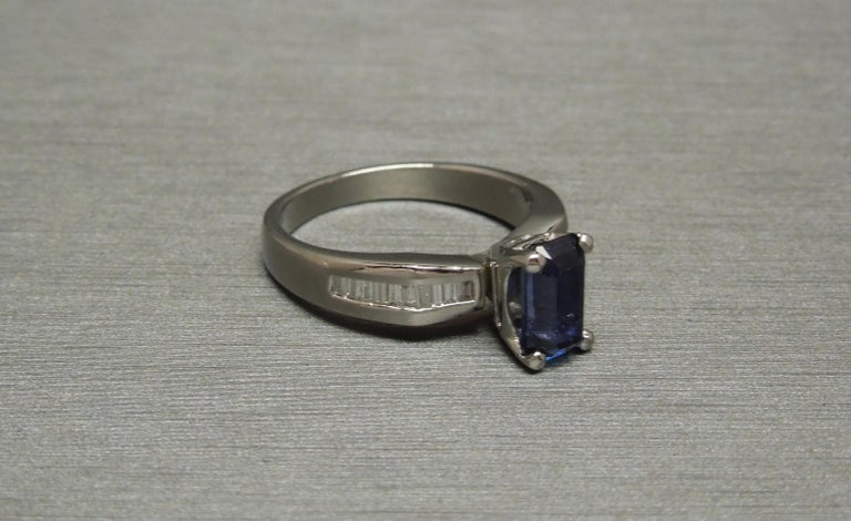 1.73 Carat Emerald Cut GIA Sapphire and Baguette Platinum Ring For Sale 2