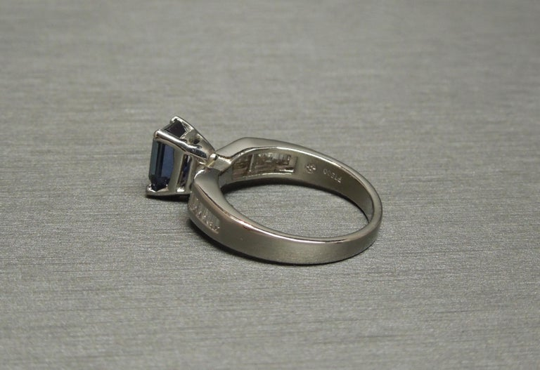 1.73 Carat Emerald Cut GIA Sapphire and Baguette Platinum Ring For Sale 3