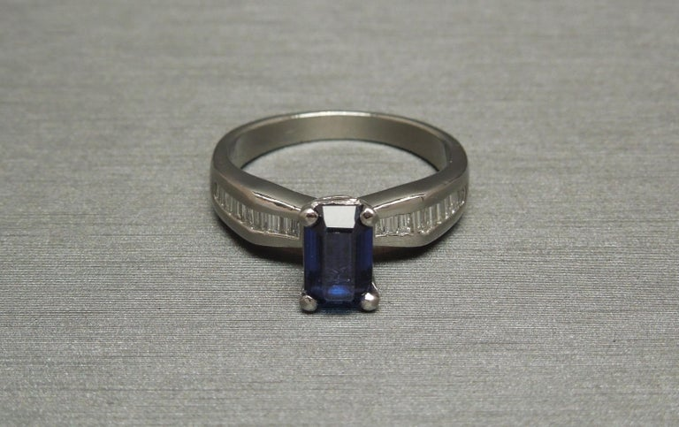 1.73 Carat Emerald Cut GIA Sapphire and Baguette Platinum Ring For Sale 4