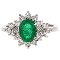 1.73 Carat Emerald Diamond 18 Karat White Gold Engagement Ring