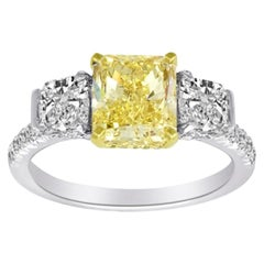 1.73 Carat Fancy Yellow Diamond Ring with GIA Certificate Set in 18 Karat Gold