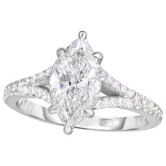 1.73 Carat GIA Certified Marquise Center Engagement Ring Split Shank in Platinum