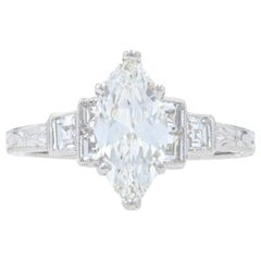 1.73 Carat Old Cut Marquise Diamond Art Deco Ring, Platinum Vintage GIA VVS2