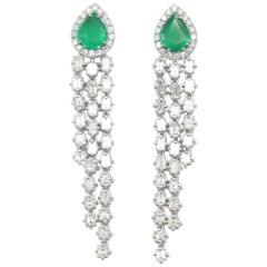 1.73 Carat Pear Shape Emerald and White Diamonds Dangle Earrings