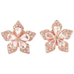1.73 Carat Rose Cut Diamond 18 Karat Gold Flower Stud Earrings