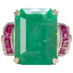 17.30 Carat Natural Emerald Rubies Yellow Gold Ring