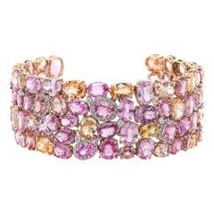 17.32 Carat Fancy Sapphire Diamond 18 Karat White Gold Link Bracelet