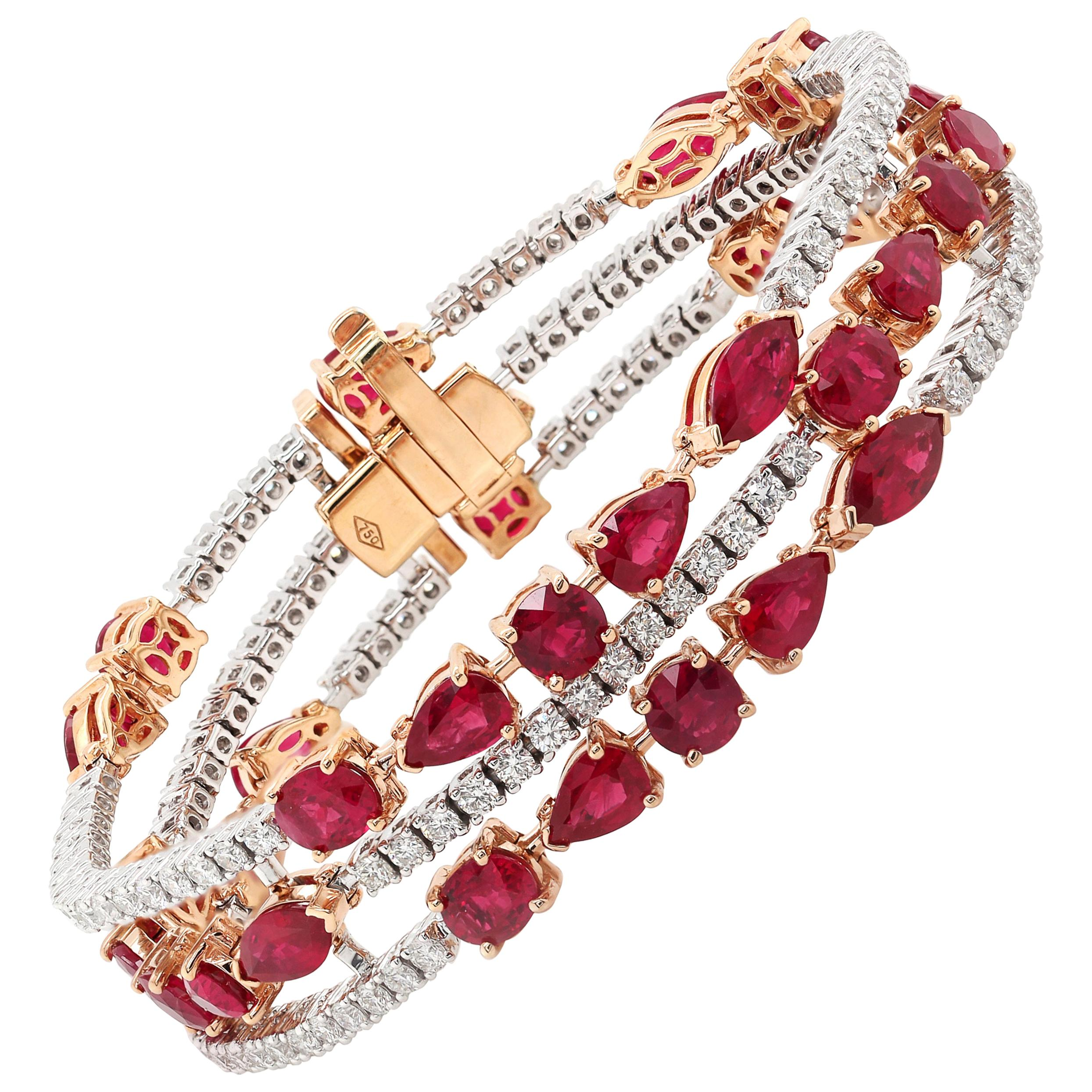 17.32 Carat Ruby Mixed Cut 18 Karat White Gold Chain Bracelet