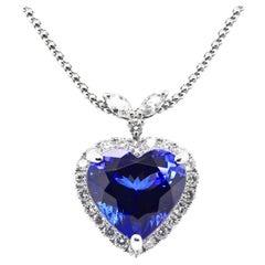 17.34 Carat, Natural, Heat-Cut Tanzanite and Diamond Necklace Set in Platinum