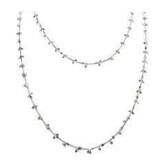 Panim Diamond Floral Necklace 17.34 Carat Oval and Pear Rosecut in WhiteGold