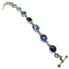 17.35 Carat Blue Sapphire Gold Statement Bracelet