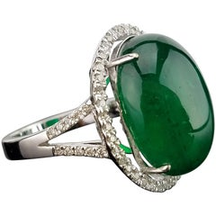 17.35 Carat Emerald Cabochon and Diamond Cocktail Ring
