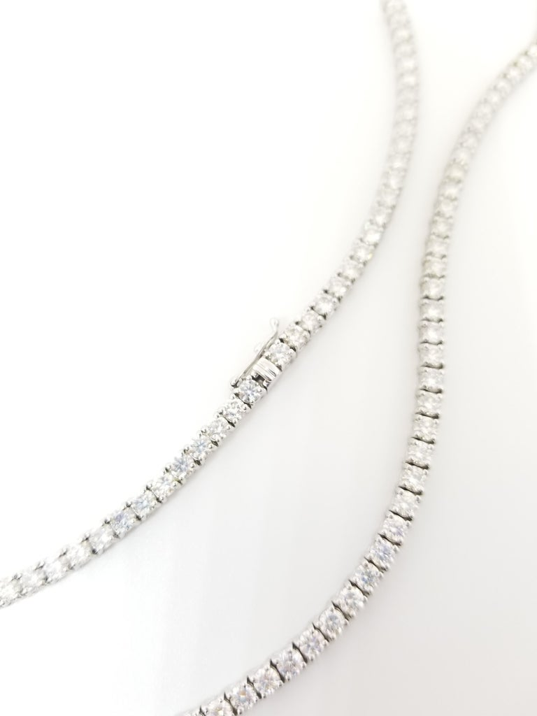 Round Cut 17.45 Carat Round Diamond White Gold Tennis Necklace For Sale