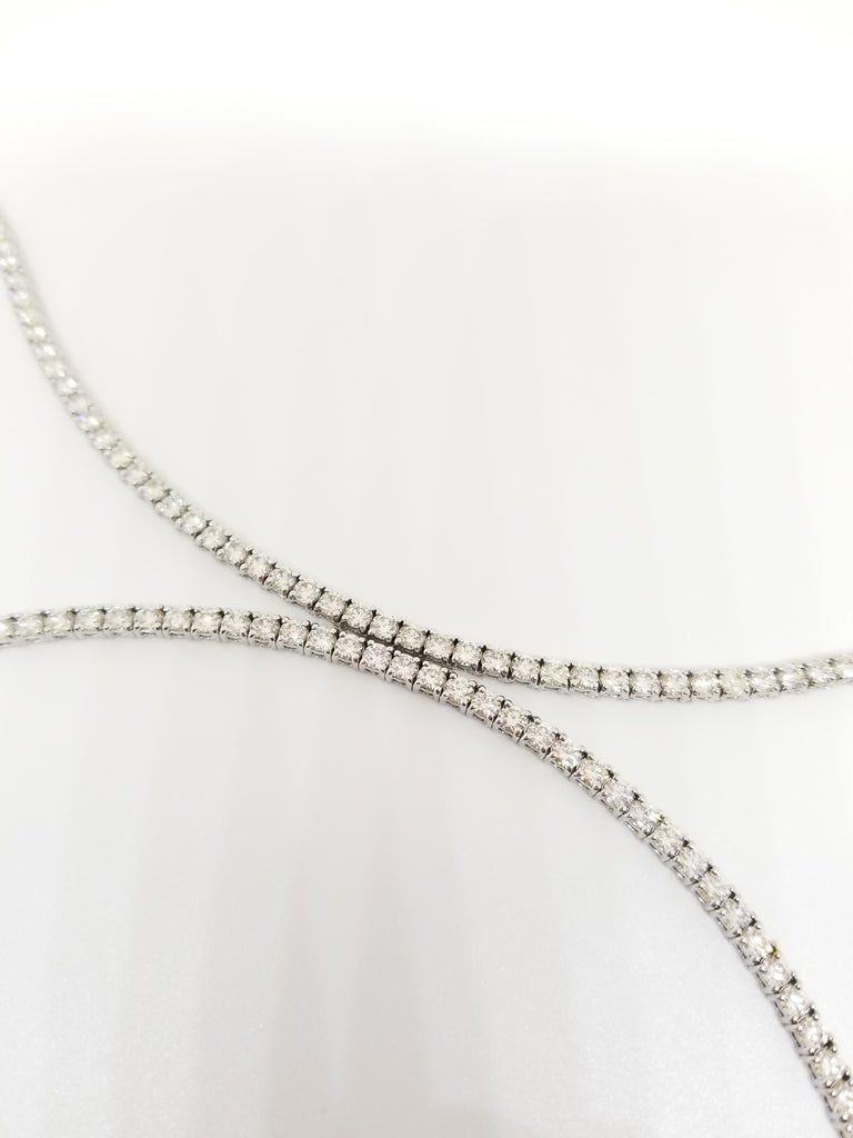 17.45 Carat Round Diamond White Gold Tennis Necklace In New Condition For Sale In New York, NY