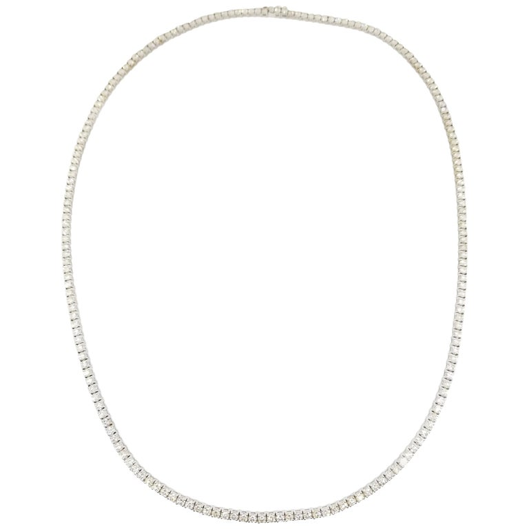 17.45 Carat Round Diamond White Gold Tennis Necklace For Sale