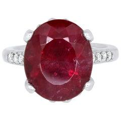 17.36 Carat Oval Rubelite Ring and White Diamond Engagement Ring 14K White Gold