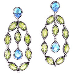 17.37 Carat Peridot Topaz Diamond Earrings