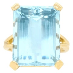 17.38 Carat Aquamarine Ring by Lawrence Jeffrey in Gold