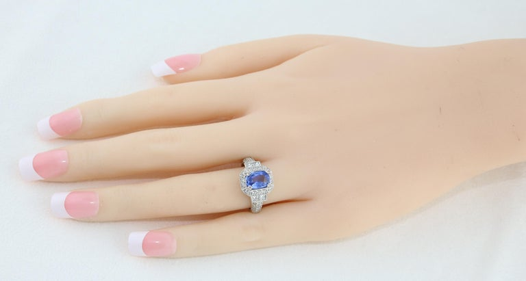 Oval Cut 1.74 Carat Blue Sapphire Oval Diamond Gold Milgrain Filigree Ring For Sale