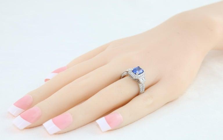 Women's 1.74 Carat Blue Sapphire Oval Diamond Gold Milgrain Filigree Ring For Sale