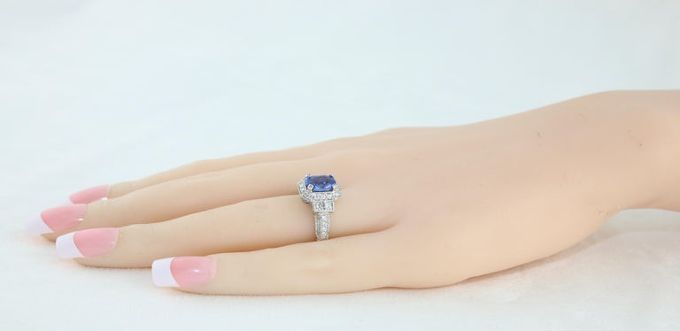 1.74 Carat Blue Sapphire Oval Diamond Gold Milgrain Filigree Ring For Sale 1