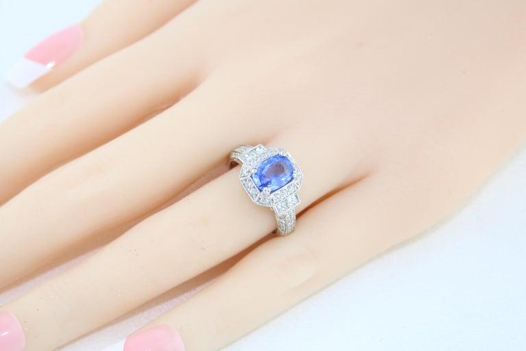 1.74 Carat Blue Sapphire Oval Diamond Gold Milgrain Filigree Ring For Sale 2