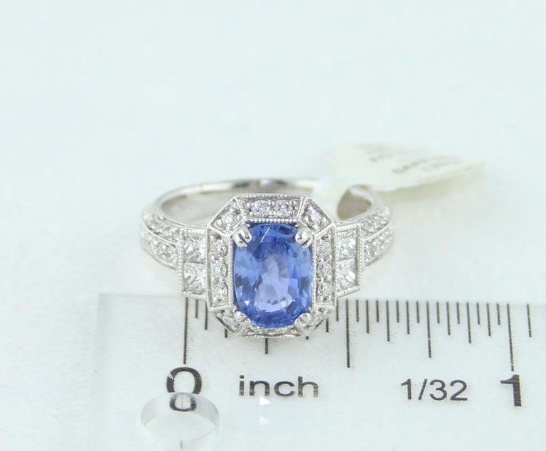 1.74 Carat Blue Sapphire Oval Diamond Gold Milgrain Filigree Ring For Sale 3