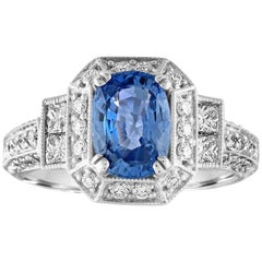 1.74 Carat Blue Sapphire Oval Diamond Gold Milgrain Filigree Ring