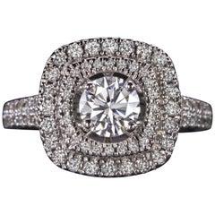1.74 Carat Double Halo Round Brilliant Cut Diamond Engagement Ring