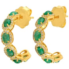 1.74 Carat Emerald 14 Karat Gold Diamond Hoop Earrings