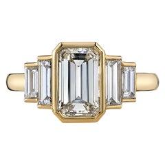 1.74 Carat Emerald Cut Diamond Set in a Handcrafted 18 Karat Gold Ring