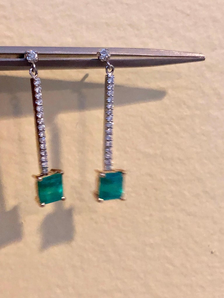 Colombian Emerald Diamond Platinum 18K Dangle Earrings For Sale 5