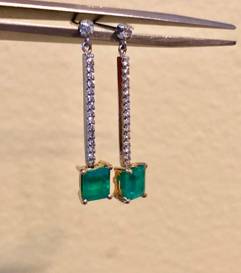 Colombian Emerald Diamond Platinum 18K Dangle Earrings For Sale 1