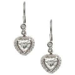 1.74 Carat Heart Shaped White Diamond Earrings in 14 Karat White Gold