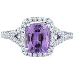1.74 Carat No Heat Purple Natural Sapphire and Diamond 18 Karat White Gold Ring