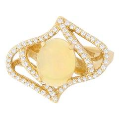1.74 Carat Opal and 0.40 Carat Diamond Ring