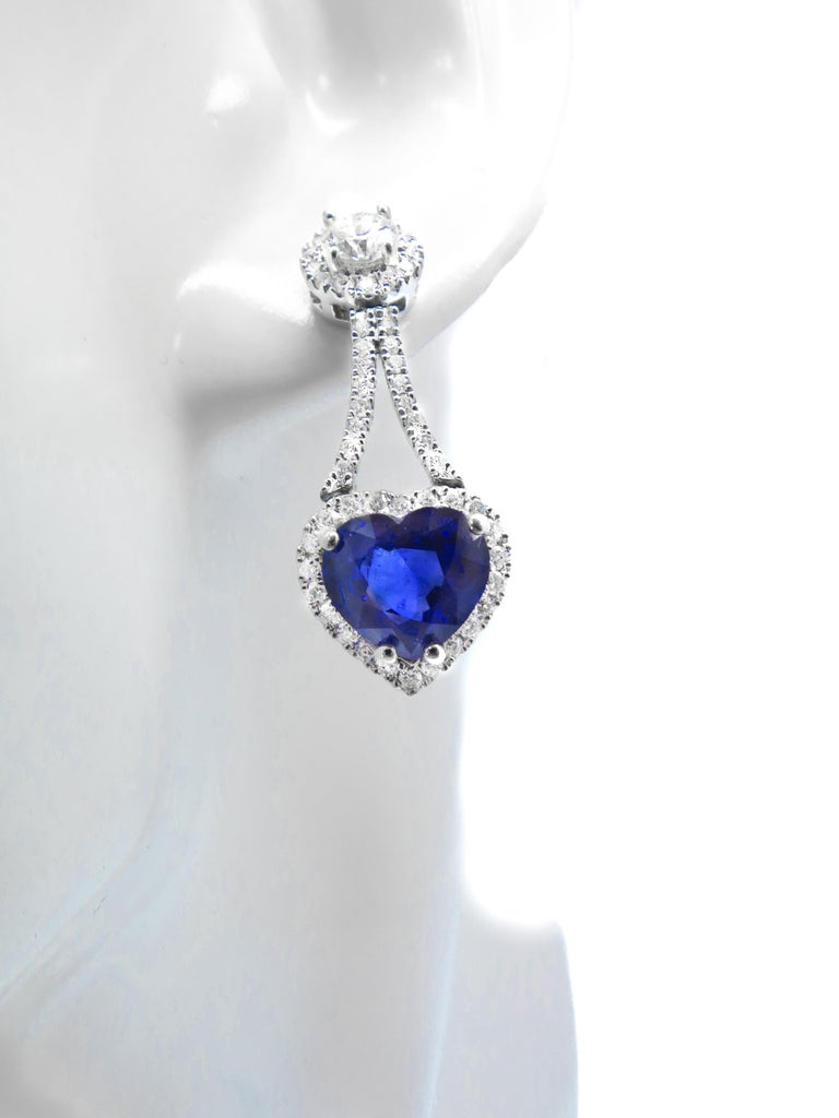 Round Cut 1.74 Carat Round Diamond Earrings with 4.49 Carat Sapphire Heart Shape Drops For Sale