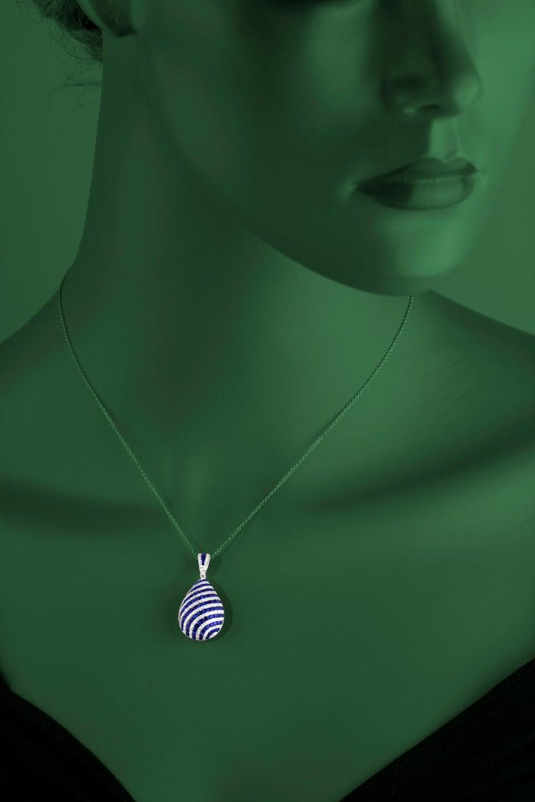 Round Cut DiamondTown 1.74 Carat Sapphire and 0.70 Carat Diamond Swirl Pendant For Sale
