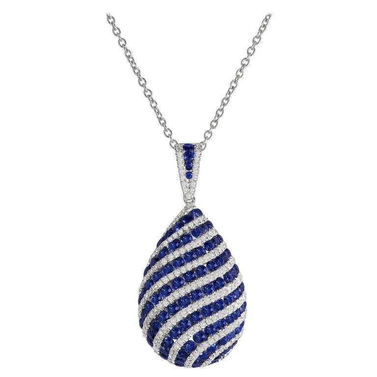 DiamondTown 1.74 Carat Sapphire and 0.70 Carat Diamond Swirl Pendant For Sale