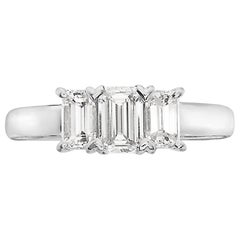 1.74 Carat Trilogy Emerald Cut Platinum Engagement Ring