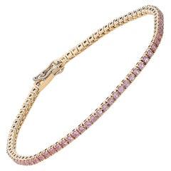 1.74 Carat Pink Sapphires 18 Karat Pink Gold Tennis Bracelet