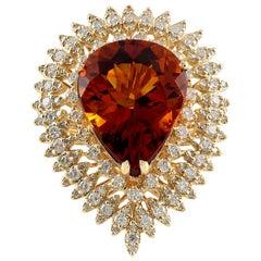 17.40 Carat Citrine 18 Karat Yellow Gold Diamond Ring