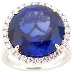 17.40 Carat Round Tanzanite and Diamond Cocktail Ring