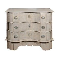 1740s Dutch Three-Drawer Serpentine Painted Wood Commode