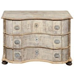 1740s Dutch Three-Drawer Serpentine Commode with Original Painted Finish